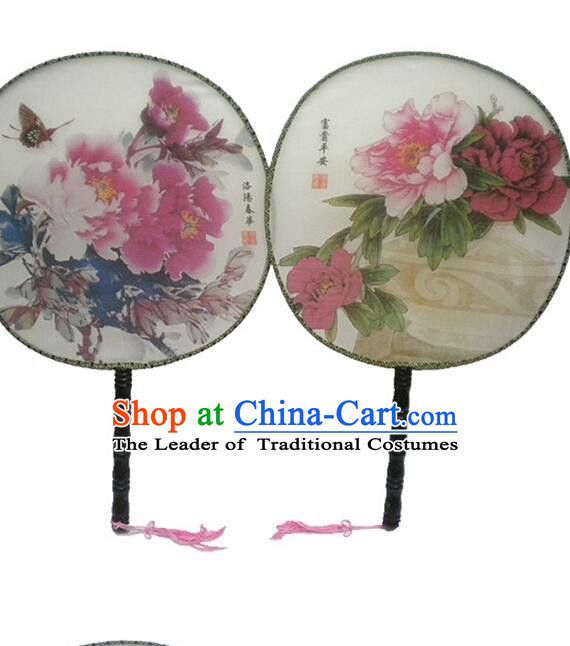 Ancient Chinese Tuan Shan Circular Fan Moon Shaped Fan Stage Property Dance Chinese Painting Flowers