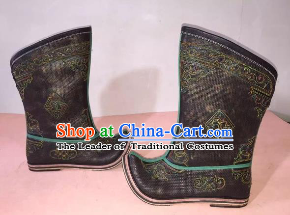 Traditional Chinese Minority Mongol Nationality Ethnic Minorities Mongolian Dance Cowhide Boots, Mongolian Big Become Warped Pointed Boots Knee Boots Handmade Jockey Boots Tanks Boots for Men
