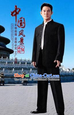 Chinese Tunic Suit Sun Yat Sen Uniform Wu Si Period Student Clothes for Men Black