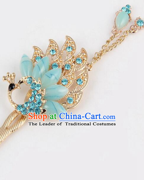 Korean Traditional Style Hairpins Bride Head Wear Up Do Tassels Bu Yao Peacock Spreading Tail Feathers Hair Clasp Blue