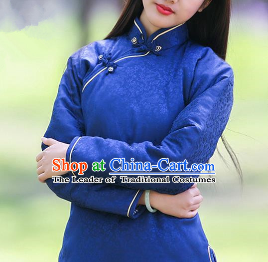 Traditional Classic Women Clothing, Traditional Classic Chinese Republic Of China Silk Satin Jacquard Cotton Chinese Plate Buttons Cotton-Padded Jacket