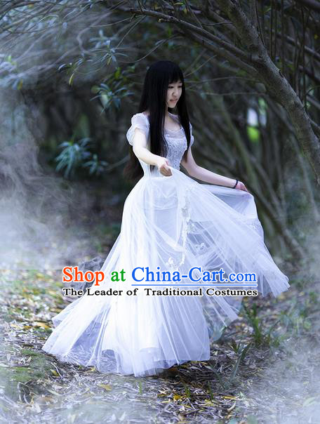 Traditional Classic Women Clothing, Traditional Classic Palace Lace Wedding Dress Bride Veil Long Skirts