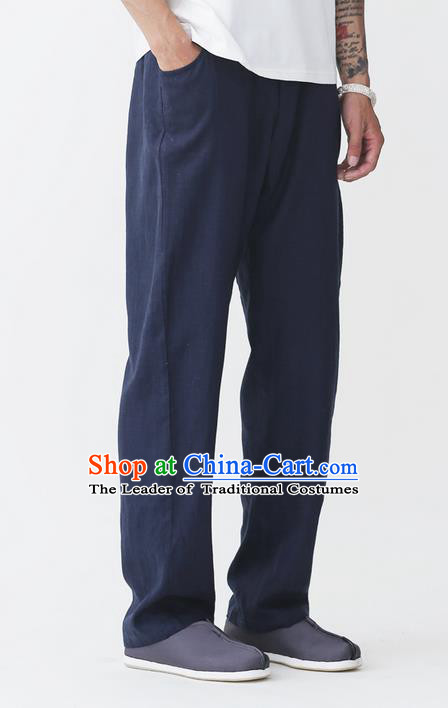 Traditional Chinese Linen Tang Suit Men Trousers, Chinese Ancient Costumes Cotton Pants, Pure Cotton Yarn Hemp Pants for Men