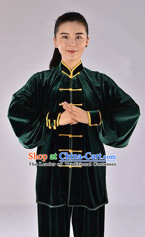 Top Upset South Korea Velvet Pleuche Kung Fu Costume Martial Arts Kung Fu Training Uniform Tang Suit Gongfu Shaolin Wushu Clothing Tai Chi Taiji Teacher Suits Uniforms for Women