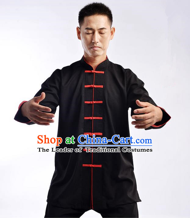 Traditional Chinese Top Cross Elastic Linen Kung Fu Costume Martial Arts Kung Fu Training Uniform Gongfu Shaolin Wushu Clothing Tai Chi Taiji Teacher Suits Uniforms for Men