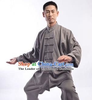 Traditional Chinese Top Linen Kung Fu Costume Martial Arts Kung Fu Training Uniform Tang Suit Gongfu Shaolin Wushu Clothing Tai Chi Taiji Teacher Suits Uniforms for Men
