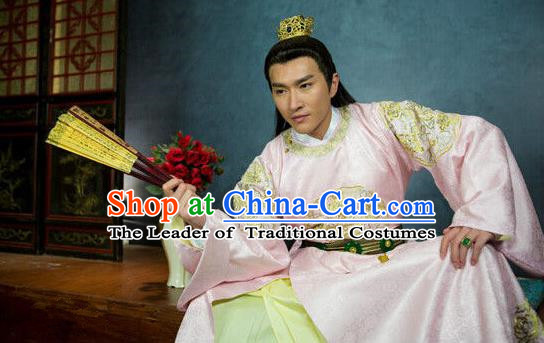Traditional Chinese Costume Chinese Ancient Royal Nobility Men Dress, Ming Dynasty Prince Dragon Robe Costume for Men