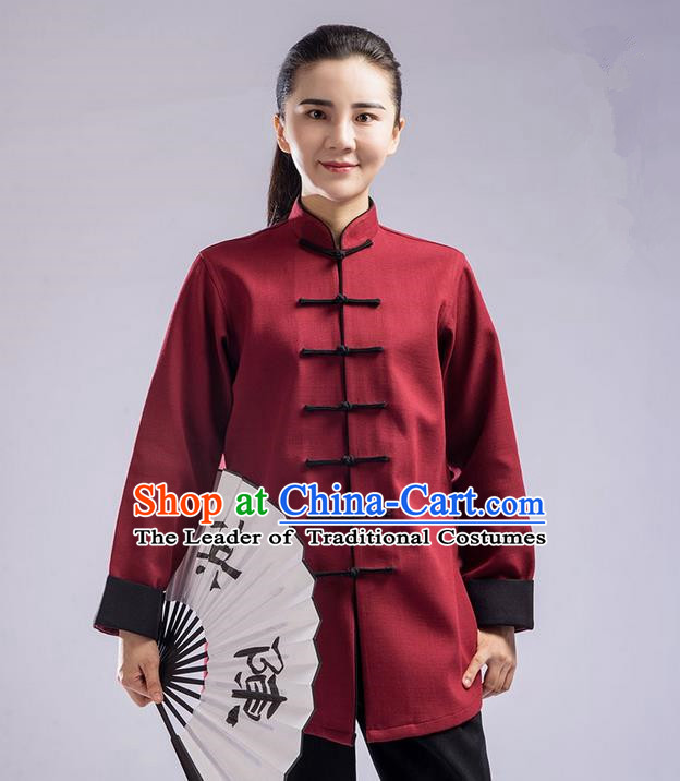 Traditional Chinese Thickening Cotton Linen Kung Fu Costume with Velvet Martial Arts Kung Fu Training Uniform Tang Suit Gongfu Shaolin Wushu Clothing Tai Chi Taiji Teacher Suits Uniforms for Women
