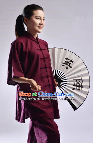 Traditional Chinese Linen Kung Fu Short Sleeve Costume Martial Arts Kung Fu Training Uniform Tang Suit Gongfu Shaolin Wushu Clothing Tai Chi Taiji Teacher Suits Uniforms for Women