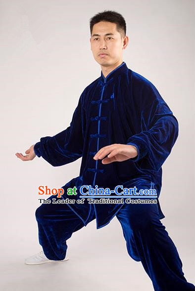 Traditional Chinese Thicken Pleuche Kung Fu Costume Martial Arts Kung Fu Training Uniform Tang Suit Gongfu Shaolin Wushu Clothing Tai Chi Taiji Teacher Suits Uniforms for Men