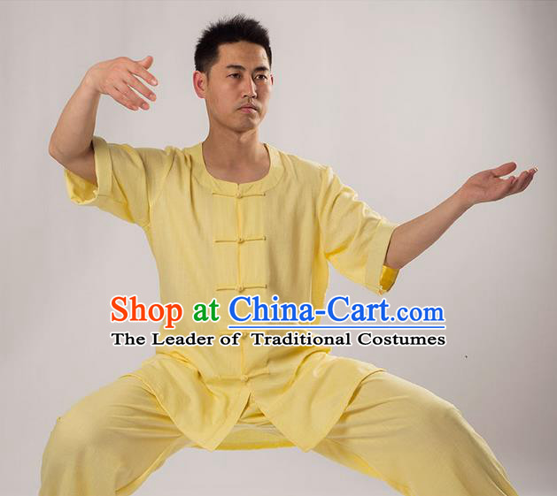 Traditional Chinese Fine Linen Short Sleeve Kung Fu Costume Martial Arts Kung Fu Training Uniform Tang Suit Gongfu Shaolin Wushu Clothing Tai Chi Taiji Teacher Suits Uniforms for Men