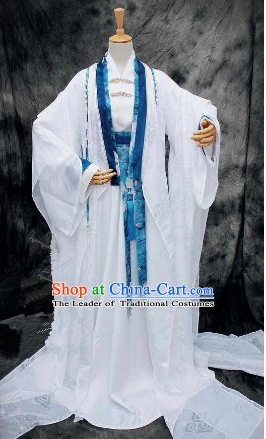 Chinese Ancient Cosplay Costumes, Chinese Traditional Embroidered Royal Prince Clothes, Ancient Chinese Cosplay Swordsman Knight Costume Complete Set for Men and Women