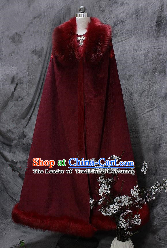 Chinese Ancient Cosplay Costumes Cloak, Chinese Traditional Embroidered Royal Prince Fur Collar Cloak, Ancient Chinese Cosplay Swordsman Knight Cloak for Men