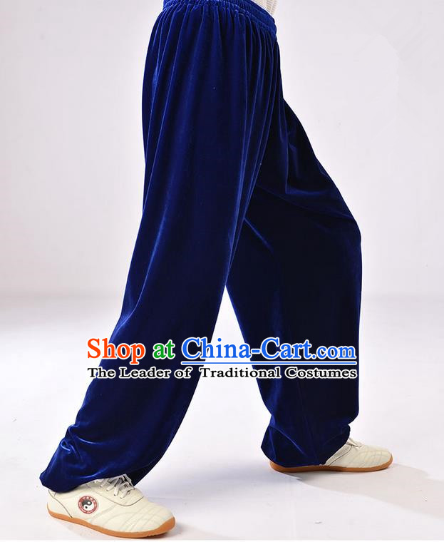 Traditional Chinese Thicken Pleuche Kung Fu Trousers, Martial Arts Kung Fu Training Trousers Tang Suit Gongfu Shaolin Wushu Clothing Tai Chi Taiji Teacher Pants for Men