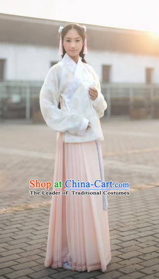 Traditional Chinese Ming Dynasty Princess Embroidered Costume, Asian China Ancient Palace Lady Hanfu Clothing for Women