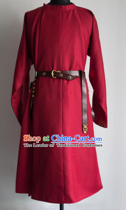 Traditional Chinese Tang Dynasty Embroidered Costume, Asian China Ancient Swordsman Hanfu Red Robe Clothing for Men