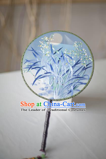 Traditional Chinese Palace Lady Accessories Hanfu Embroidered Orchid Fans, Asian China Ancient Round Fan for Women
