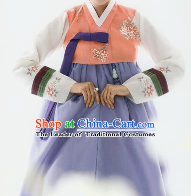 Traditional Korean Costumes Bride Wedding Orange Blouse and Silk Dress, Korea Hanbok Princess Court Embroidered Clothing for Women