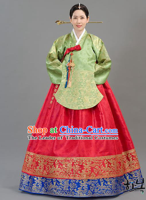 Traditional Korean Costumes Imperial Consort Wedding Red Dress, Asian Korea Hanbok Court Bride Embroidered Clothing for Women