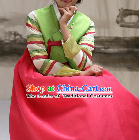 Traditional Korean Costumes Imperial Consort Wedding Green Blouse and Pink Dress, Asian Korea Hanbok Court Bride Embroidered Clothing for Women