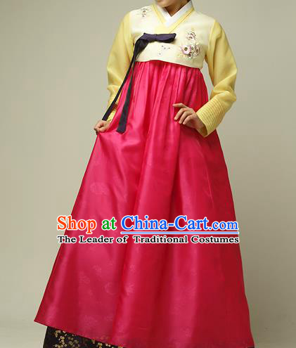 Traditional Korean Costumes Imperial Palace Lady Wedding Yellow Blouse and Red Dress, Asian Korea Hanbok Court Bride Embroidered Clothing for Women