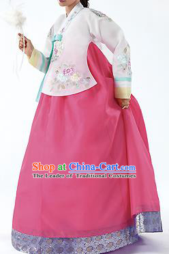 Traditional Korean Costumes Palace Lady Formal Attire Ceremonial Pink Blouse and Dress, Asian Korea Hanbok Bride Embroidered Clothing for Women