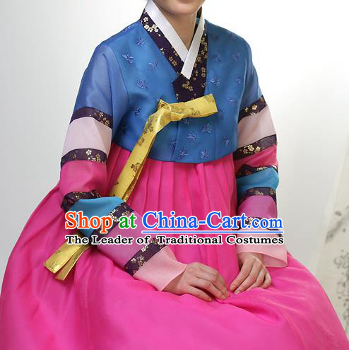 Traditional Korean Costumes Palace Lady Formal Attire Ceremonial Blue Blouse and Dress, Asian Korea Hanbok Bride Embroidered Clothing for Women