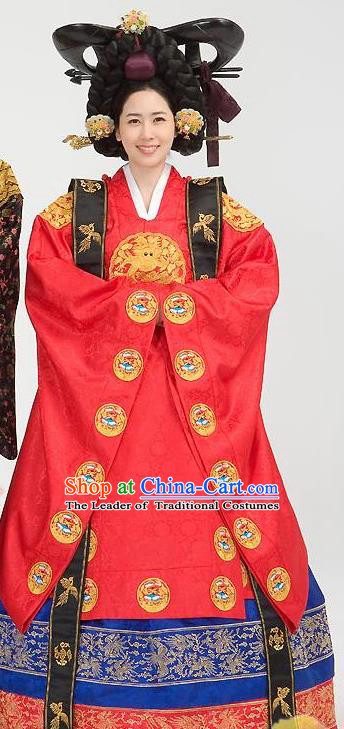 Traditional Korean Costumes Palace Lady Formal Attire Ceremonial Red Wedding Dress, Asian Korea Hanbok Bride Embroidered Clothing for Women