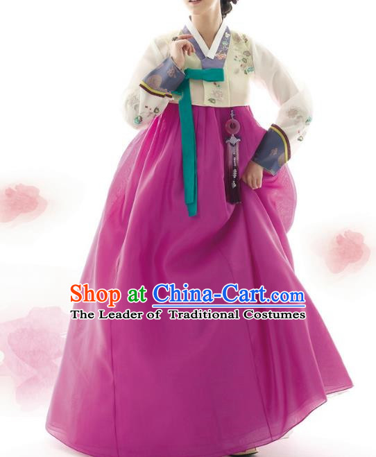 Traditional Korean Costumes Palace Lady Formal Attire Ceremonial Wedding Purple Dress, Asian Korea Hanbok Court Bride Clothing for Women
