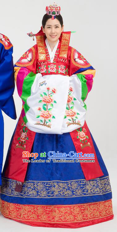 Traditional Korean Costumes Bride Formal Attire Ceremonial Palace Lady Full Dress, Korea Court Embroidered Wedding Clothing for Women