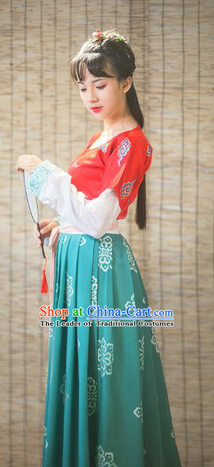 Traditional Chinese Tang Dynasty Imperial Princess Embroidered Costume, Asian China Ancient Hanfu Young Lady Dress Clothing