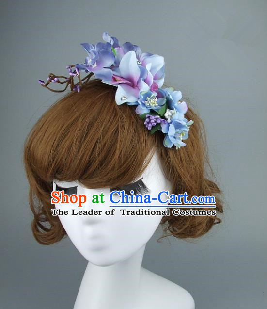 Asian China Wedding Purple Flowers Hair Accessories, Model Show Headdress Bride Headwear for Women