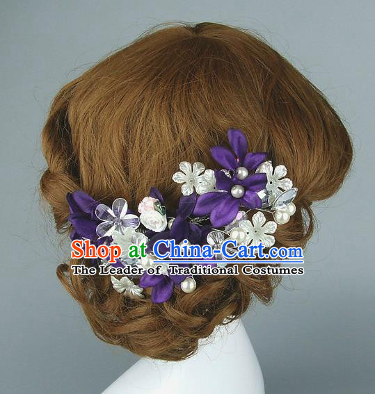 Top Grade Handmade Hair Accessories Princess Ceramics Flowers Purple Hair Clasp, Baroque Style Wedding Bride Headband for Women