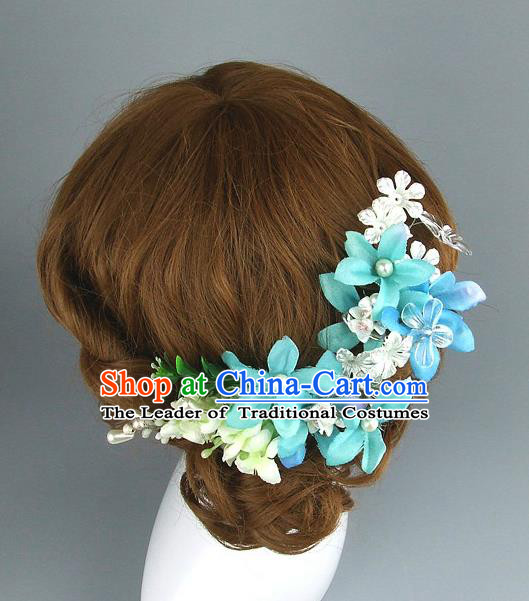 Top Grade Handmade Wedding Hair Accessories Blue Flowers Hair Clasp, Baroque Style Bride Hair Stick Headwear for Women