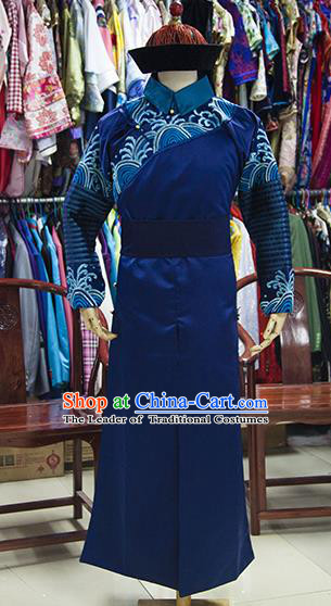 Traditional Ancient Chinese Manchu Court Eunuch Costume, Asian Chinese Qing Dynasty Minister Clothing for Men
