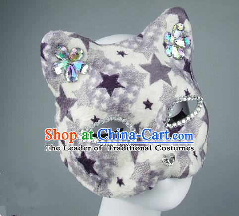 Handmade Exaggerate Fancy Ball Accessories Model Show Crystal Mask, Halloween Ceremonial Occasions Face Mask