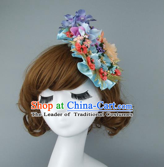 Top Grade Handmade Wedding Hair Accessories Model Show Flowers Hair Stick, Baroque Style Bride Deluxe Headwear for Women