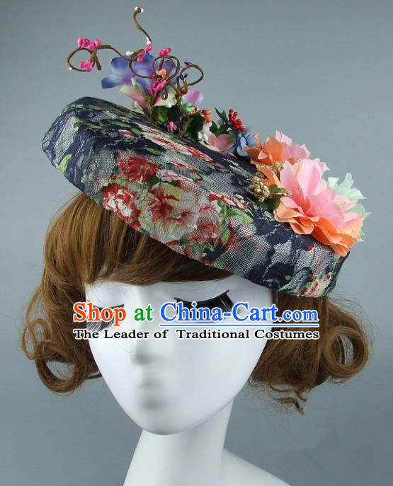 Top Grade Handmade Wedding Hair Accessories Model Show Flowers Top Hat, Baroque Style Bride Deluxe Headwear for Women