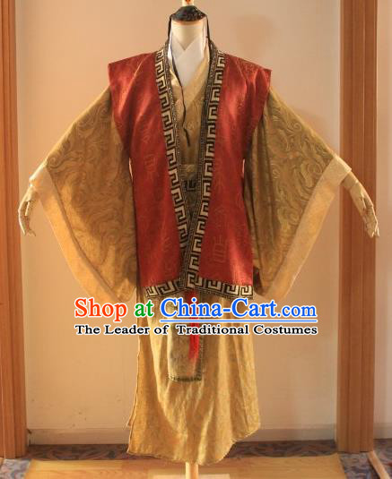 Traditional Ancient Chinese Hanfu Costume, Asian Chinese Han Dynasty Minister Clothing for Men