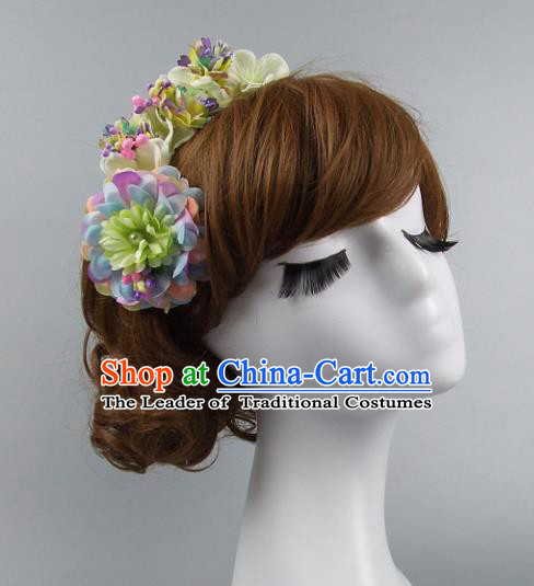 Top Grade Handmade Wedding Hair Accessories Model Show Flowers Headdress, Baroque Style Deluxe Headwear for Women