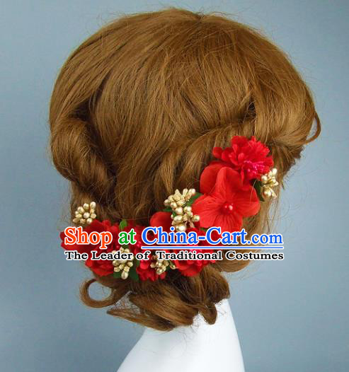 Top Grade Handmade Wedding Hair Accessories Model Show Red Flowers Headdress, Baroque Style Deluxe Headwear for Women