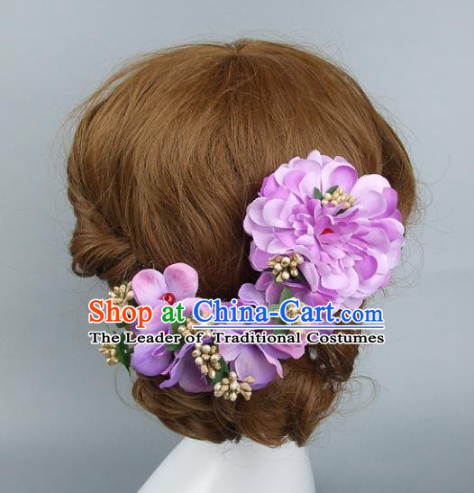 Top Grade Handmade Wedding Hair Accessories Purple Flowers Headband Hair Clasp, Baroque Style Bride Headwear for Women