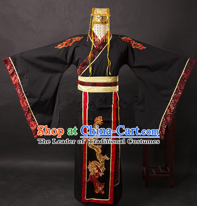 Traditional Ancient Chinese His Majesty Hanfu Costume, Asian Chinese Han Dynasty Emperor Clothing for Men
