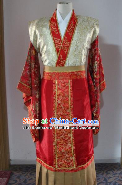 Traditional Ancient Chinese Emperor Wedding Costume, Asian Chinese Han Dynasty King Red Dress Clothing for Men