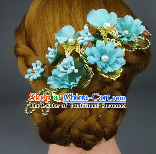 Top Grade Handmade Wedding Hair Accessories Blue Silk Flowers Hair Stick, Baroque Style Bride Headwear for Women