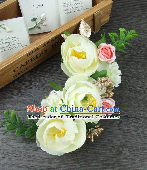 Top Grade Handmade Wedding Hair Accessories Yellow Silk Rose Flowers Hair Stick Headpiece, Baroque Style Bride Headwear for Women
