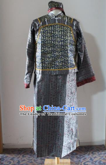 Traditional Ancient Chinese Manchu Royal Highness Mandarin Jacket Costume, Asian Chinese Qing Dynasty Emperor Grey Clothing for Men