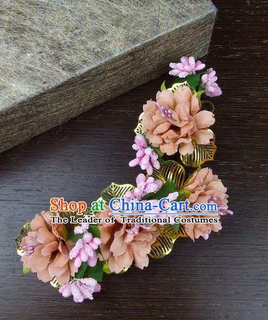 Top Grade Handmade Wedding Hair Accessories Pink Headdress Silk Flowers, Baroque Style Bride Pearls Headwear for Women