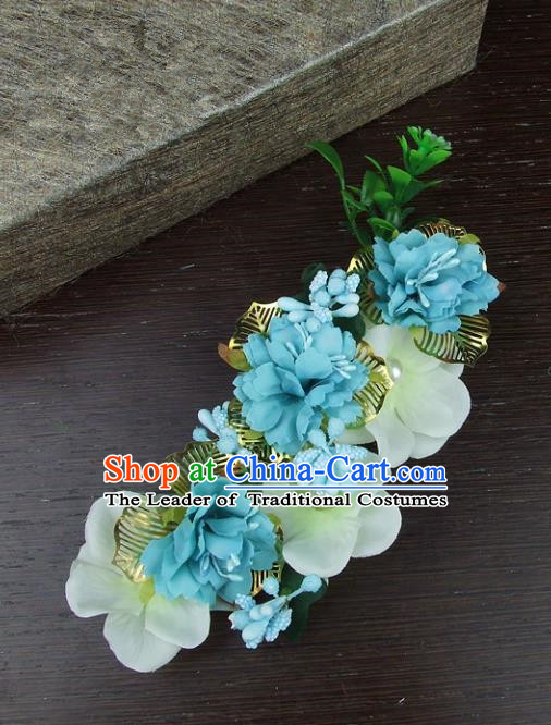 Top Grade Handmade Wedding Hair Accessories Blue Headdress Silk Flowers, Baroque Style Bride Pearls Headwear for Women