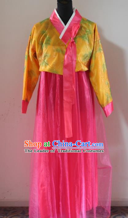 Traditional Chinese Korean Costumes, Asian Women Opening Hanbok Pink Dress for Women